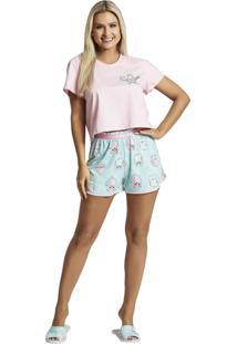 Pijama Recco Curto Malha 100% Rosa - Kanui