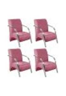 Conjunto De 4 Poltronas Sevilha Decorativa Braço Alumínio Cadeira Para Recepção, Sala Estar Tv Espera, Escritório - Suede Rosê