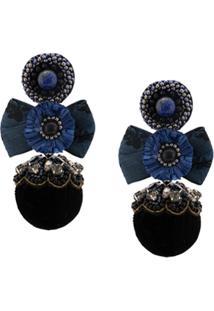Ranjana Khan Par De Brincos Com Laço - Azul