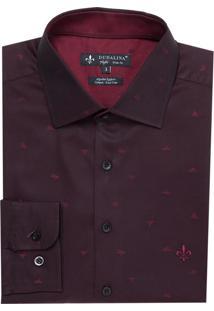 Camisa Ml Jacquard Fio Tinto (Vinho, 4)