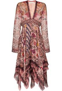 Etro Vestido Assimétrico Com Estampa - Rosa