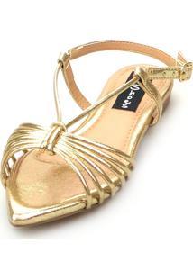 Sandalia Love Shoes Salomé Rasteira Bico Folha Tirinhas Metalizadas Dourada - Tricae