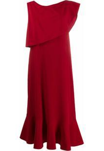 Stella Mccartney Vestido Midi De Seda - Vermelho
