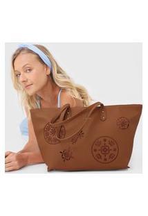 Bolsa Desigual Shopping Bag Inês Caramelo