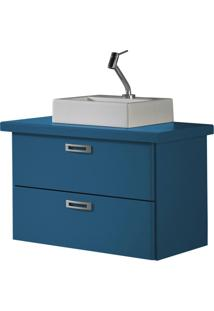 Balcão Suspenso Para Banheiro Kenzo 161 Azul Corporativo - Maxima