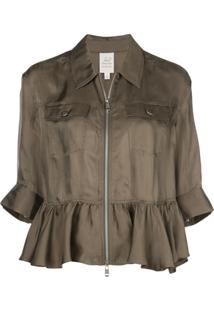 Cinq A Sept Ruffle Trim Shirt Jacket - Verde