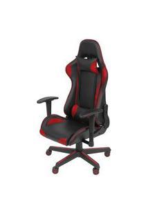 Cadeira Office Gamer Fun Em Courissimo Cor Preta E Vermelha Com Base Nylon - 51837 Preto E Vermelho