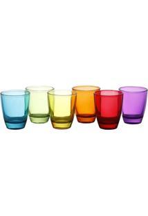 Conjunto Com 6 Copos Para Shot De Vidro Colorido 9756 Lyor Classic