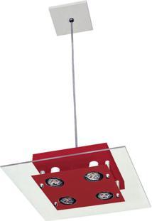 Pendente Quadrado 6058 10X24X24 4 Lâmpadas Red Pantoja&Carmona