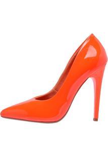Scarpin Neon Factor Fashion Salto Alto - Laranja - Tricae