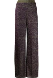 Missoni Calça Pantalona Com Efeito De Brilho - Roxo