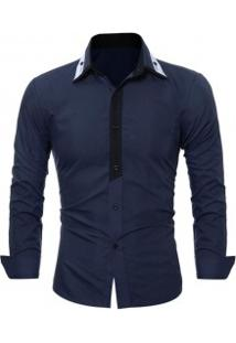 Camisa Social Masculina Slim Fit Manga Longa - Azul Marinho