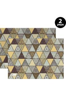 Jogo Americano Mdecore Abstrato 40X28 Cm Amarelo 2Pçs