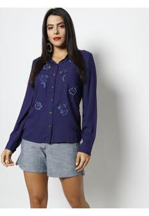 f154661374 ... Camisa Com Renda   Aplicações - Azul Marinhoestilo Show