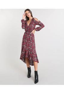 f0941d8ae R$ 149,99. CEA Vestido Feminino Midi Open Shoulder Estampado Floral Com  Babado Manga Longa Preto