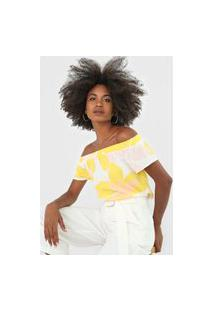 Blusa Habana Ombro A Ombro Estampada Branca/Amarelo