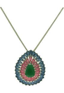 Colar Lihanna Zirconia Verde E Rubi E Azul Leitoso Rodio Hc0014751