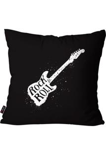 Capa De Almofada Pump Up Avulsa Música Preto Guitarra Rock Rool 45X45Cm