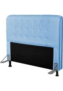 Cabeceira Para Cama Casal Box 195 Cm Califórnia Corino Azul Bebê - Js Móveis