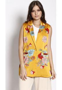 Colete Acetinado Com Bolsos - Amarelo & Azul- Suzan Susan Zheng