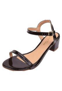 Sandália Salto Grosso Bloco Rosa Chic Calçados Sandália Clássica Confortável Dia A Dia Preto