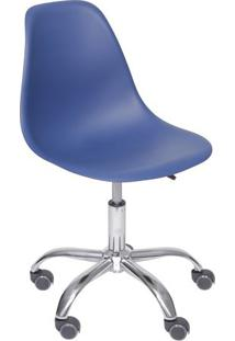 Cadeira Office Eames Dkr- Azul Marinho & Prateada- 9Or Design