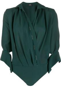 Elisabetta Franchi Wrapped Bodysuit Blouse - Verde