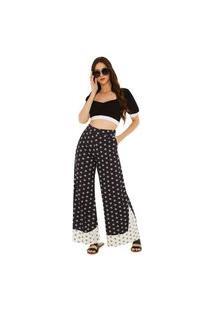 Calça Zinco Pantalona Cós Alto Composê Tecido Preto