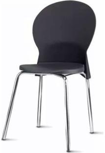 Cadeira Luna Assento Preto Base Cromada - 53840 - Sun House