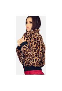Jaqueta Vida Bela Leopardo Pelo Preto