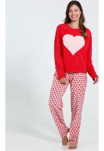 8ac2f231d Pijama Feminino Soft Manga Longa Coração Marisa