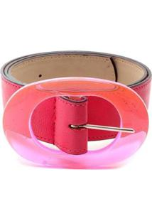 Cinto Birô Fivela Oval Feminina - Feminino-Pink