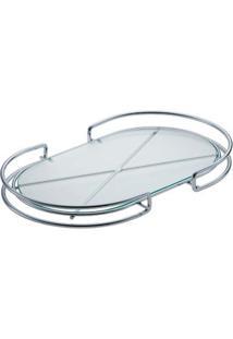 Bandeja Organizadora Oval De Aço Inox Com Vidro Multiuso