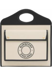 Burberry Bolsa Tote Pocket Com Logo Gráfico - Branco