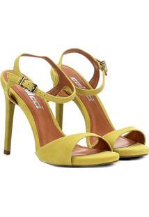 Sandália Colcci Em Camurça Salto Fino Feminina - Feminino-Amarelo