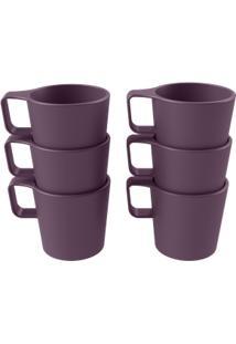 Conjunto 6 Canecas Empilháveis Casual Roxo Púrpura Coza