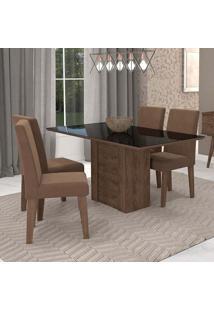 Conjunto De Mesa De Jantar Retangular Rafaela Com 4 Cadeiras Milena Suede Chocolate E Preto
