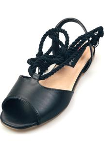 Sandália Rasteira Love Shoes Salomé Corda Amarrar Preta