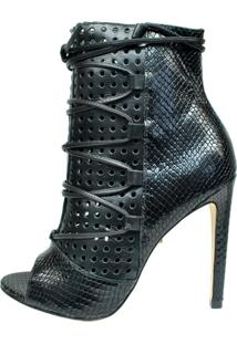 Open Boot Conceito Fashion Snake Preta