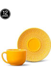 Conjunto 12Pçs Xícaras De Chá Porto Brasil Greek Amarelo