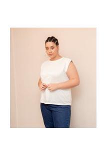 Blusa Lisa Em Algodão Com Ombreiras Curve & Plus Size | Ashua Curve E Plus Size | Branco | Eg