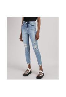 Calça Jeans Feminina Cigarrete Cintura Alta Destroyed Azul Médio