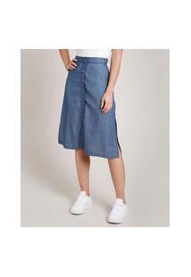 Saia Jeans Feminina Midi Com Botões E Fenda Azul Escuro