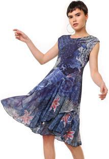 Vestido Desigual Curto Tule Lírio Azul
