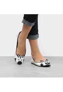 Sapatilha Santa Lolla Zebra Feminina - Feminino-Branco