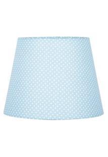Cúpula De Abajur Tecido Azul Bolinha 20X16Cm