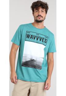 Camiseta Masculina Com Estampa De Praia Manga Curta Gola Careca Verde