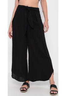 Calça Pantalona Com Fendas - Preta - La Conchala Concha