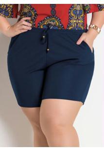 Short Marinho Plus Size Marguerite Com Amarração