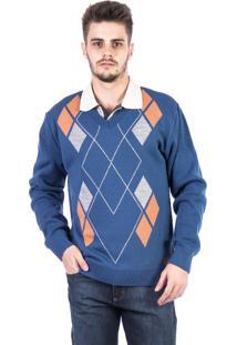 Blusa Tricot Carlan Decote V Losango Azul